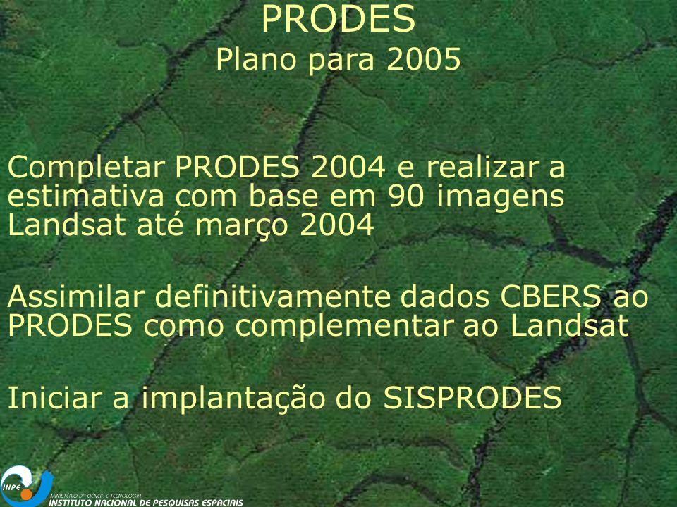 PRODES Plano para 2005. Completar PRODES 2004 e realizar a estimativa com base em 90 imagens Landsat até março 2004.