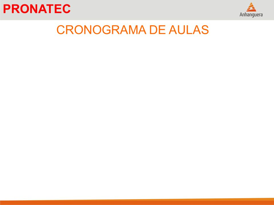 PRONATEC CRONOGRAMA DE AULAS
