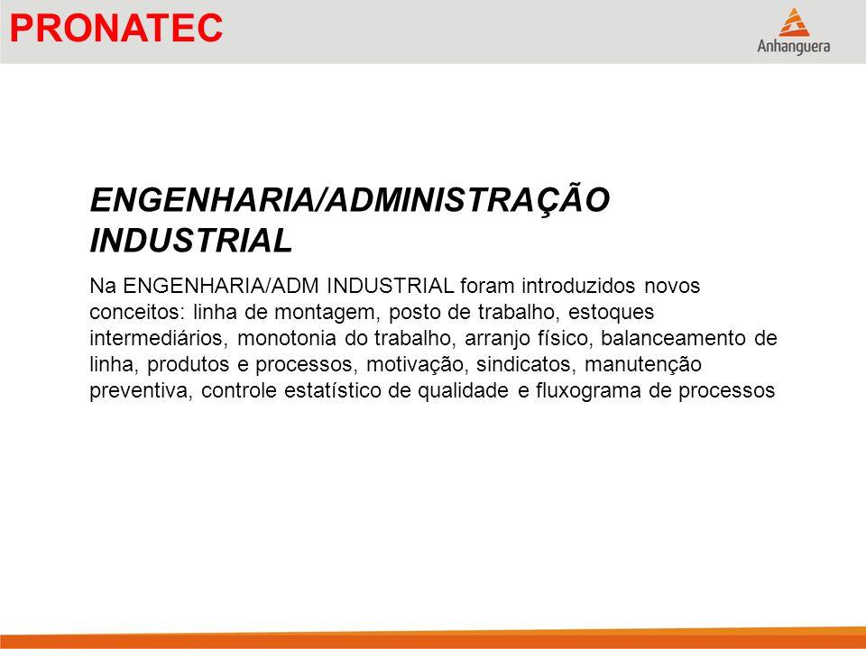 PRONATEC ENGENHARIA/ADMINISTRAÇÃO INDUSTRIAL