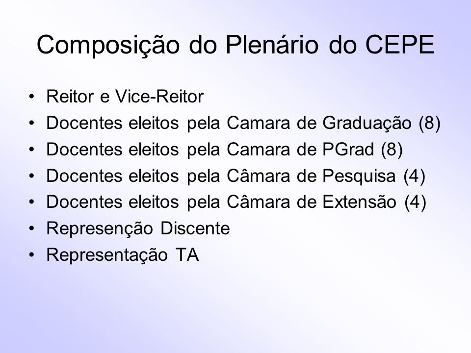 Composição do Plenário do CEPE