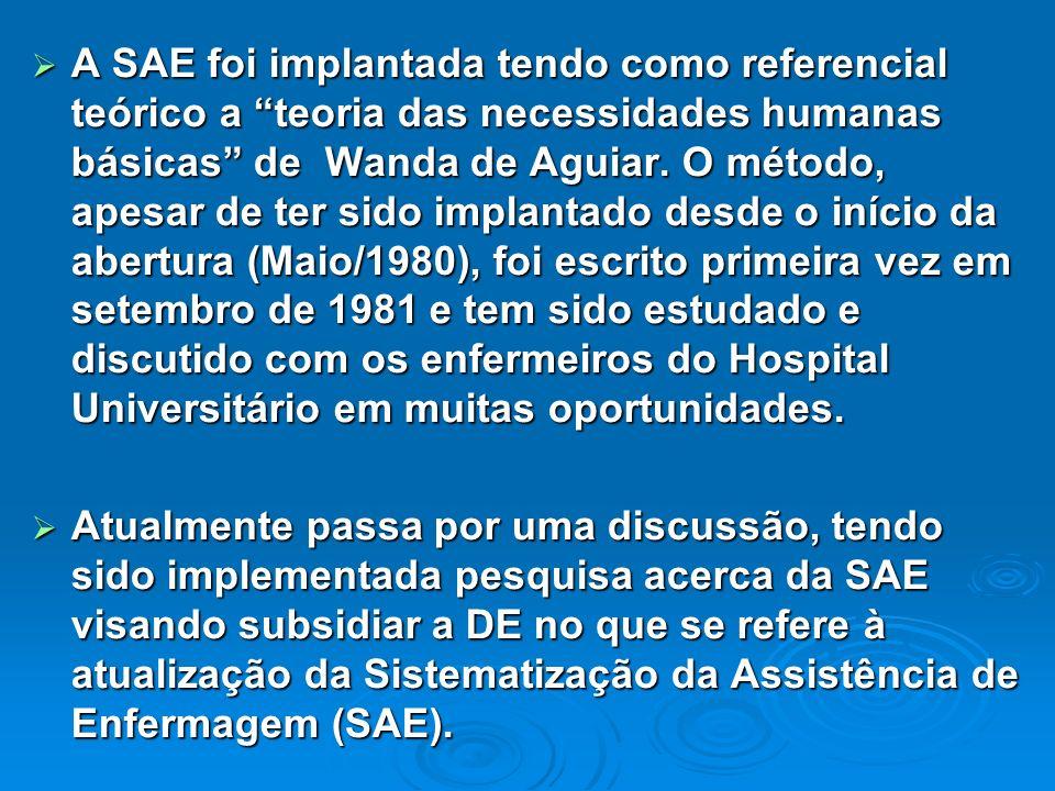 A SAE foi implantada tendo como referencial teórico a teoria das necessidades humanas básicas de Wanda de Aguiar. O método, apesar de ter sido implantado desde o início da abertura (Maio/1980), foi escrito primeira vez em setembro de 1981 e tem sido estudado e discutido com os enfermeiros do Hospital Universitário em muitas oportunidades.