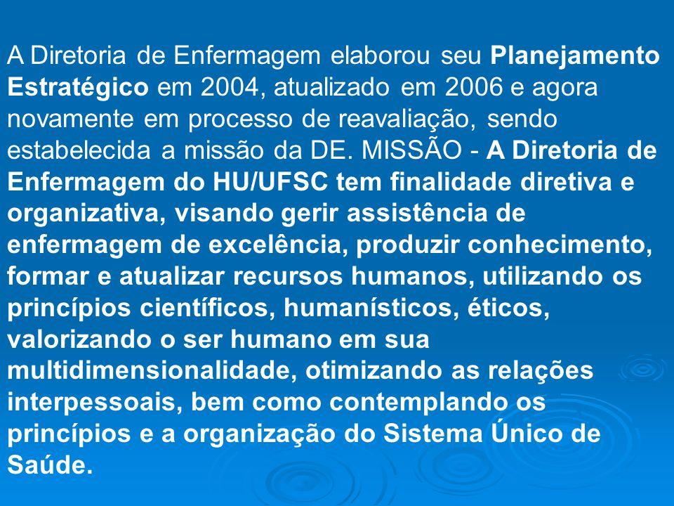 A Diretoria de Enfermagem elaborou seu Planejamento Estratégico em 2004, atualizado em 2006 e agora novamente em processo de reavaliação, sendo estabelecida a missão da DE.