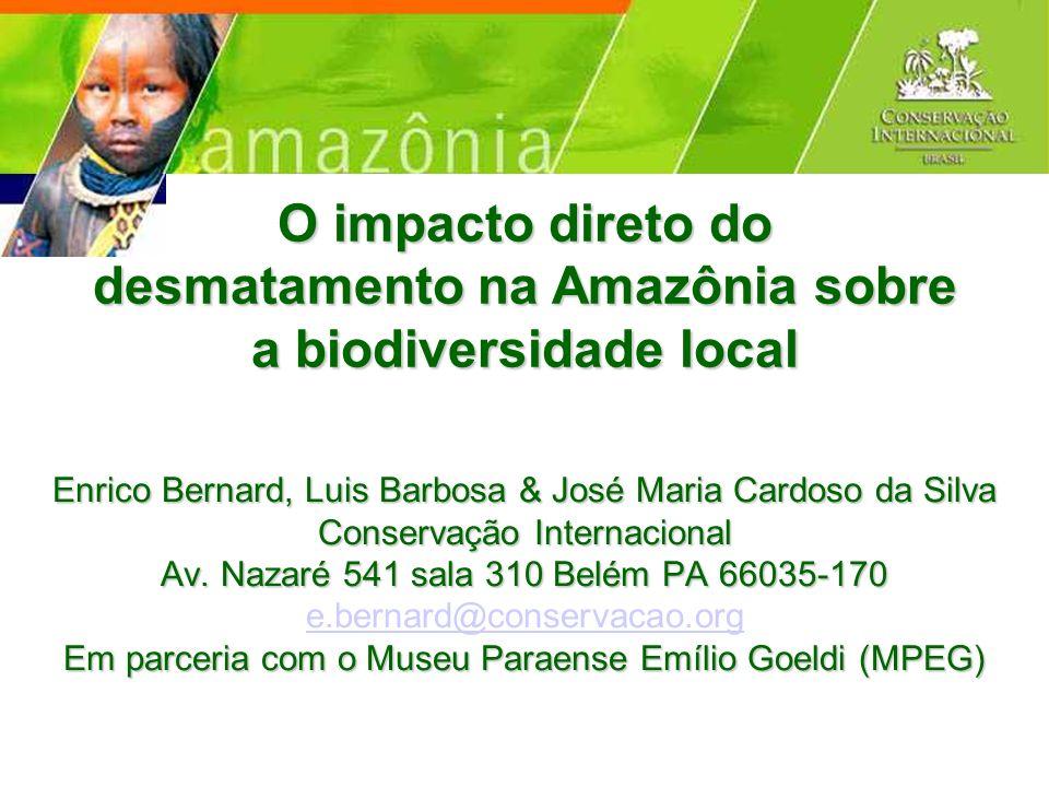 O impacto direto do desmatamento na Amazônia sobre a biodiversidade local