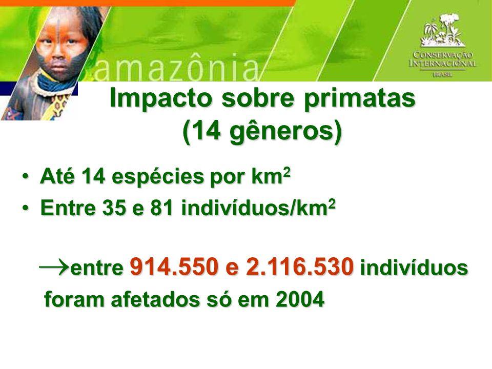 Impacto sobre primatas (14 gêneros)