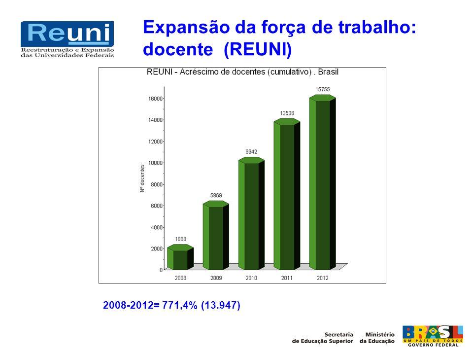 Expansão da força de trabalho: docente (REUNI)
