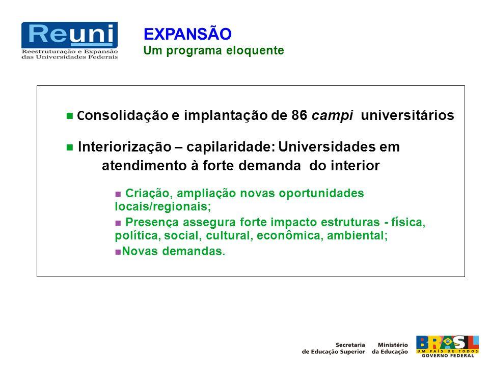 EXPANSÃO Consolidação e implantação de 86 campi universitários