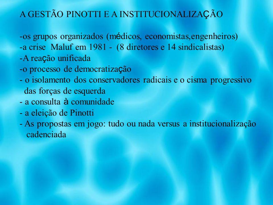 A GESTÃO PINOTTI E A INSTITUCIONALIZAÇÃO