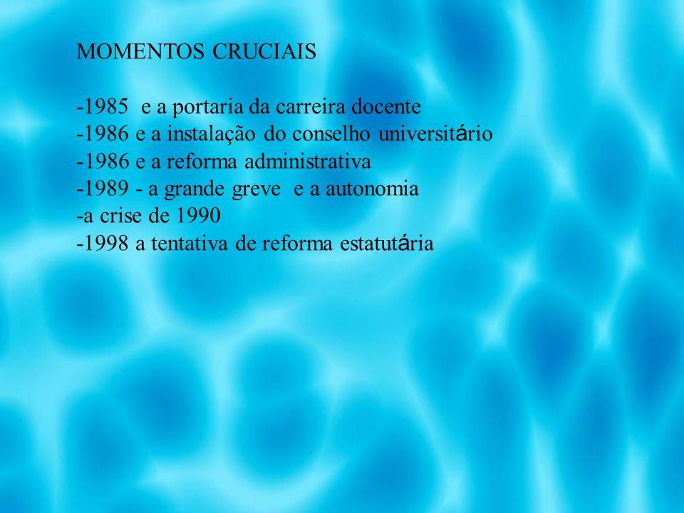 MOMENTOS CRUCIAIS -1985 e a portaria da carreira docente. -1986 e a instalação do conselho universitário.