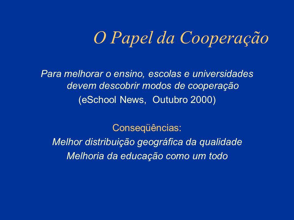 O Papel da Cooperação Para melhorar o ensino, escolas e universidades devem descobrir modos de cooperação.