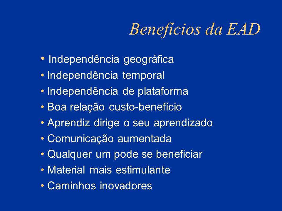 Benefícios da EAD Independência geográfica Independência temporal