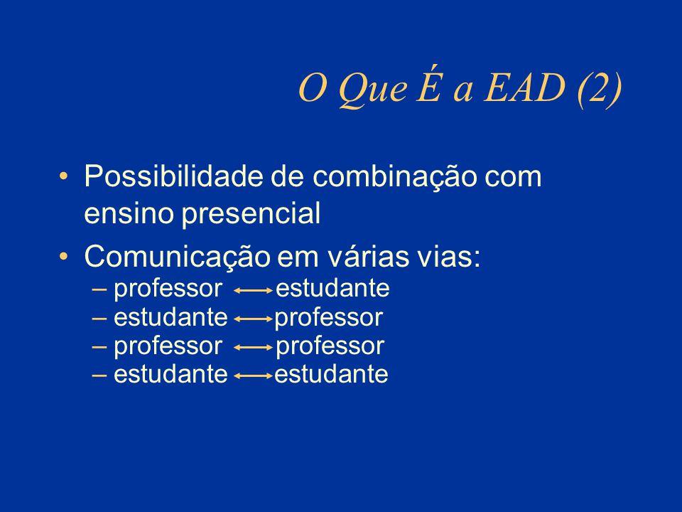 O Que É a EAD (2) Possibilidade de combinação com ensino presencial