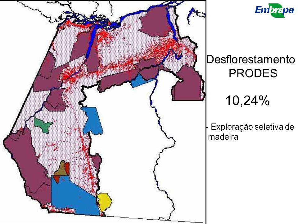 Desflorestamento PRODES 10,24% Exploração seletiva de madeira