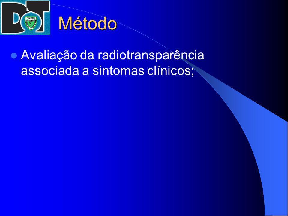 Método Avaliação da radiotransparência associada a sintomas clínicos;