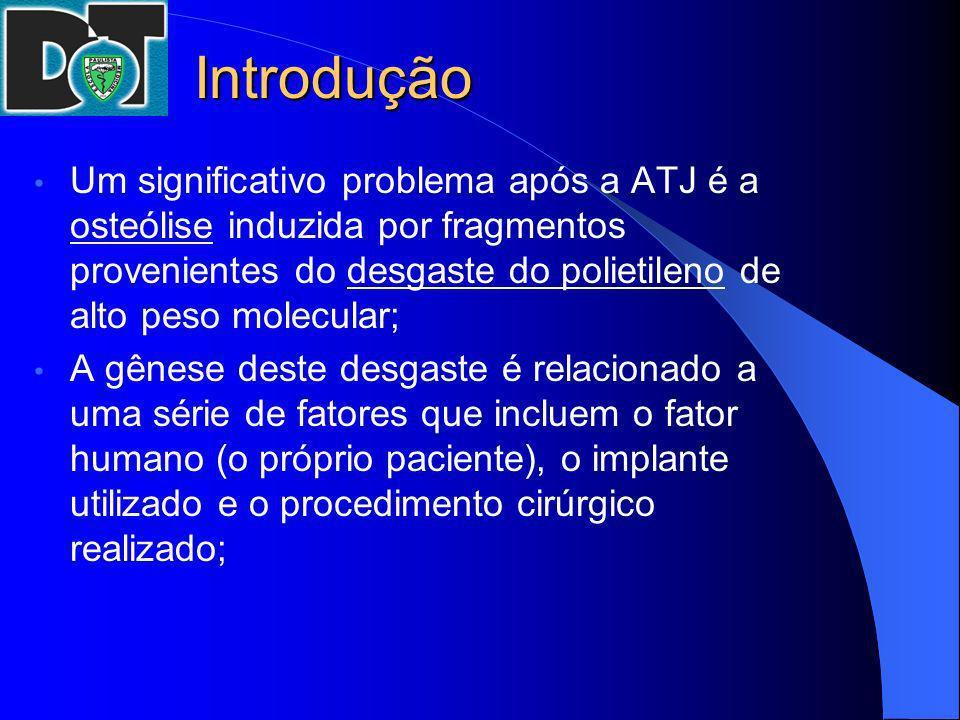 Introdução Um significativo problema após a ATJ é a osteólise induzida por fragmentos provenientes do desgaste do polietileno de alto peso molecular;