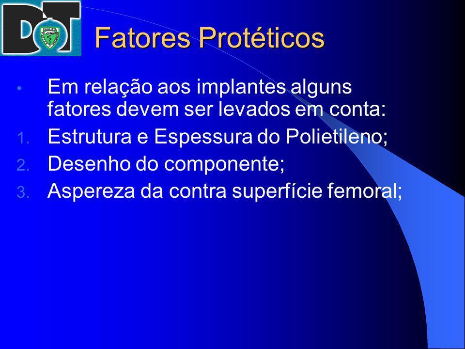 Fatores Protéticos Em relação aos implantes alguns fatores devem ser levados em conta: Estrutura e Espessura do Polietileno;