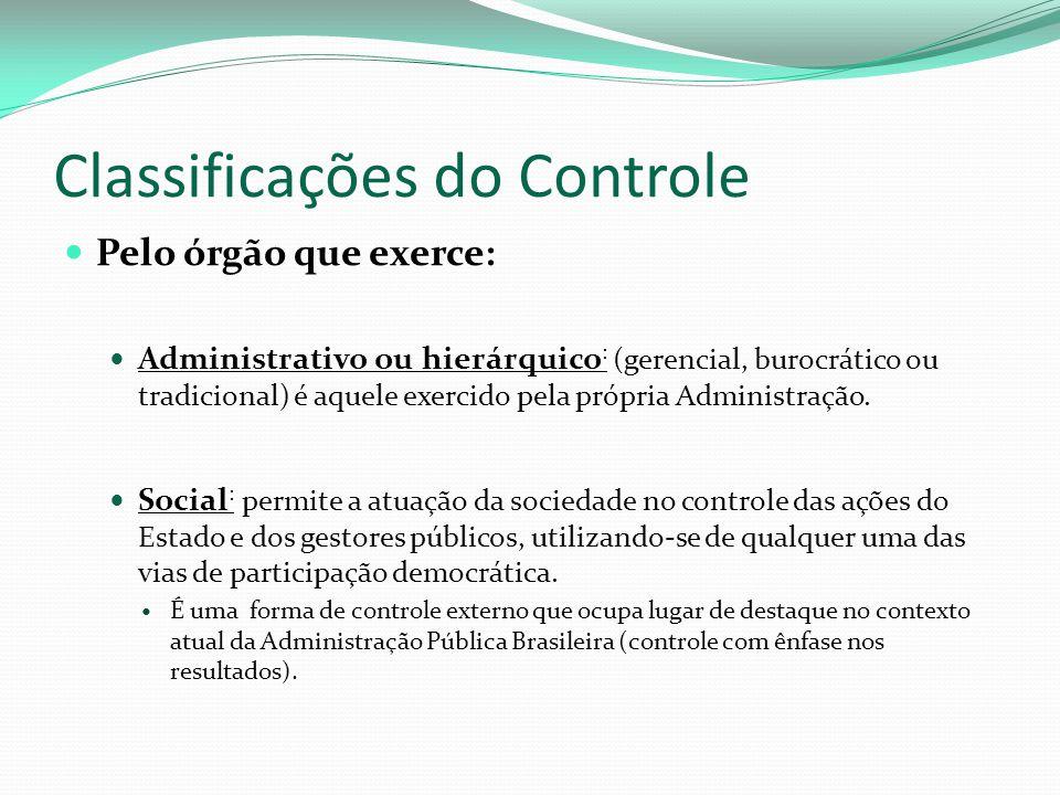 Classificações do Controle