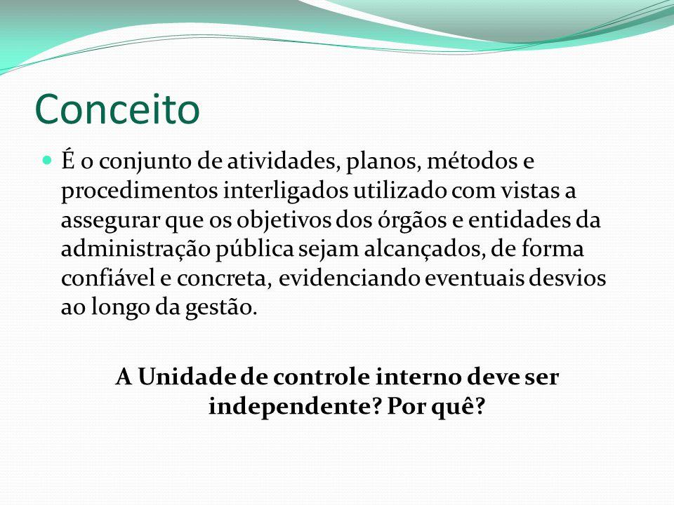A Unidade de controle interno deve ser independente Por quê