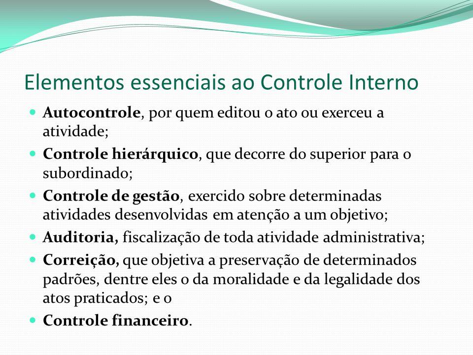 Elementos essenciais ao Controle Interno