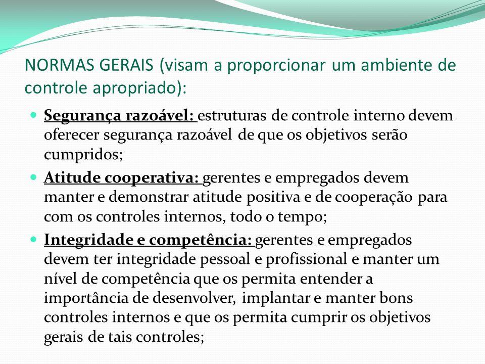 NORMAS GERAIS (visam a proporcionar um ambiente de controle apropriado):