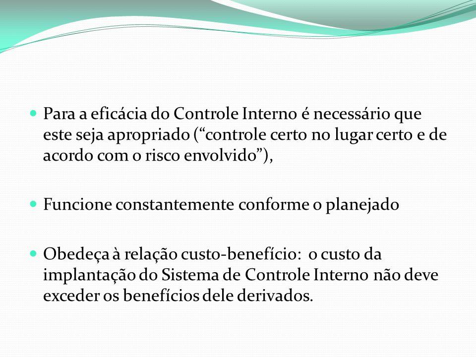 Para a eficácia do Controle Interno é necessário que este seja apropriado ( controle certo no lugar certo e de acordo com o risco envolvido ),