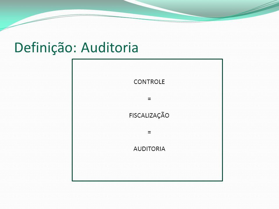 Definição: Auditoria CONTROLE = FISCALIZAÇÃO AUDITORIA
