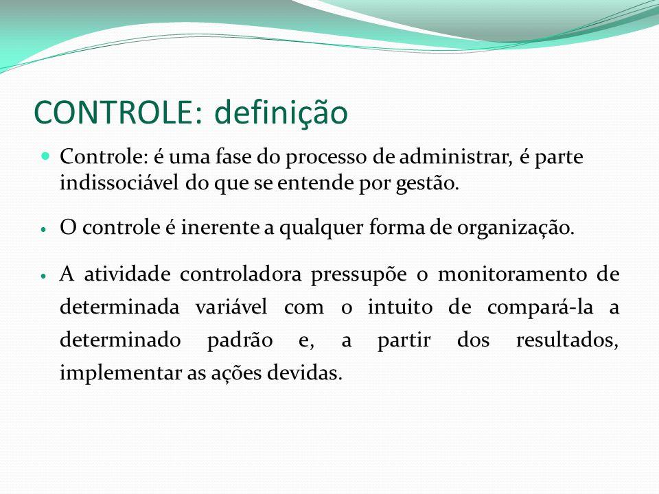 CONTROLE: definição Controle: é uma fase do processo de administrar, é parte indissociável do que se entende por gestão.