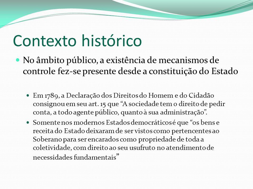 Contexto histórico No âmbito público, a existência de mecanismos de controle fez-se presente desde a constituição do Estado.