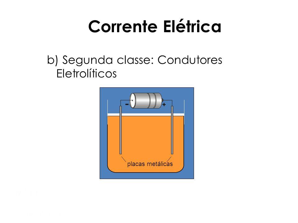 Corrente Elétrica b) Segunda classe: Condutores Eletrolíticos Mód 1