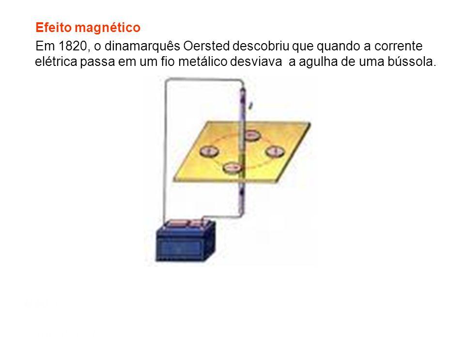 Efeito magnético Em 1820, o dinamarquês Oersted descobriu que quando a corrente elétrica passa em um fio metálico desviava a agulha de uma bússola.