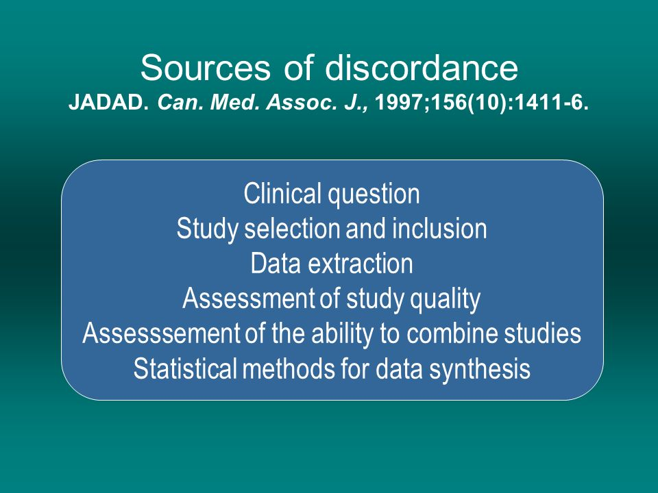 Sources of discordance JADAD. Can. Med. Assoc. J., 1997;156(10):1411-6.