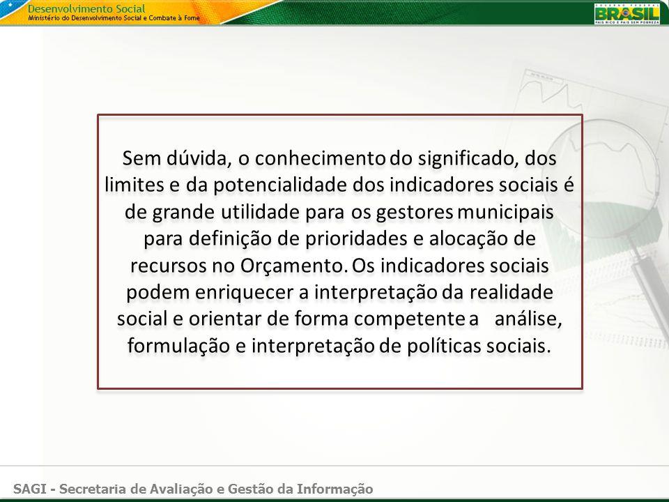 Sem dúvida, o conhecimento do significado, dos limites e da potencialidade dos indicadores sociais é de grande utilidade para os gestores municipais para definição de prioridades e alocação de recursos no Orçamento.