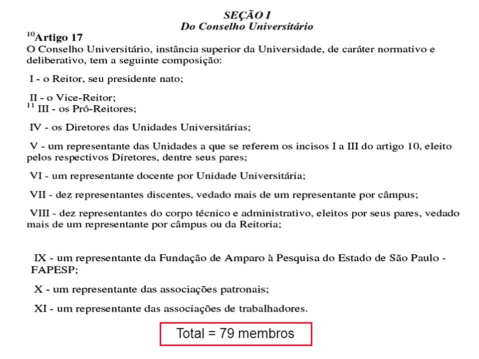 Total = 79 membros