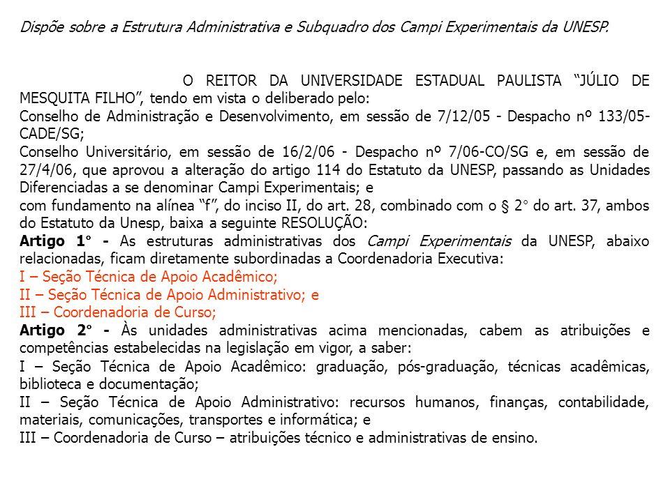 Dispõe sobre a Estrutura Administrativa e Subquadro dos Campi Experimentais da UNESP.