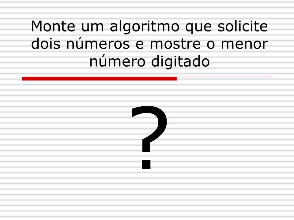 Monte um algoritmo que solicite dois números e mostre o menor número digitado