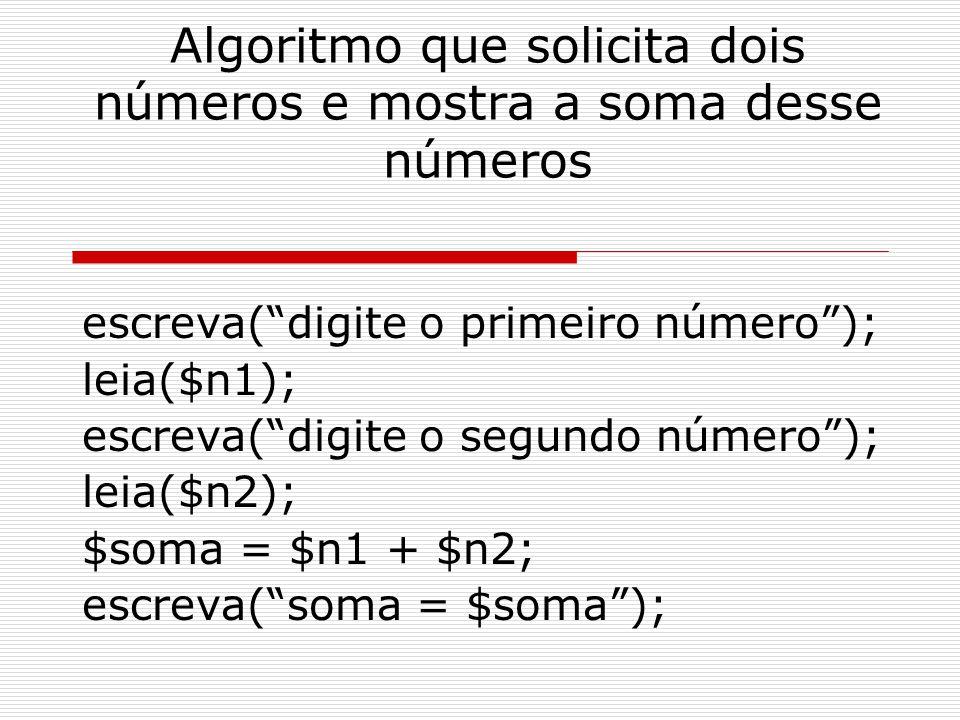 Algoritmo que solicita dois números e mostra a soma desse números