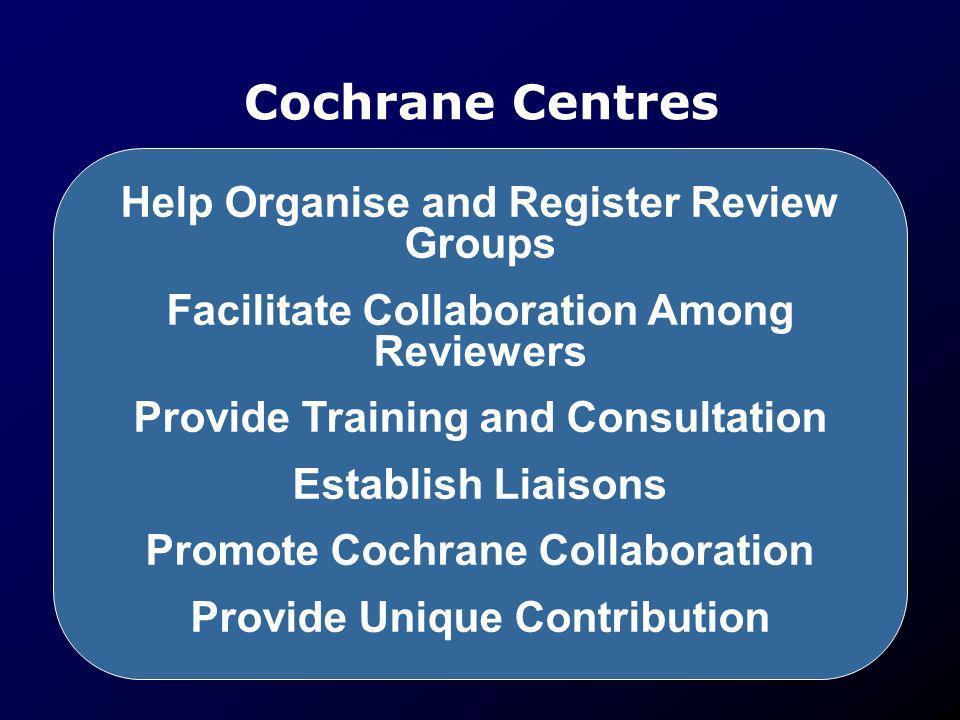 Cochrane Centres Help Organise and Register Review Groups