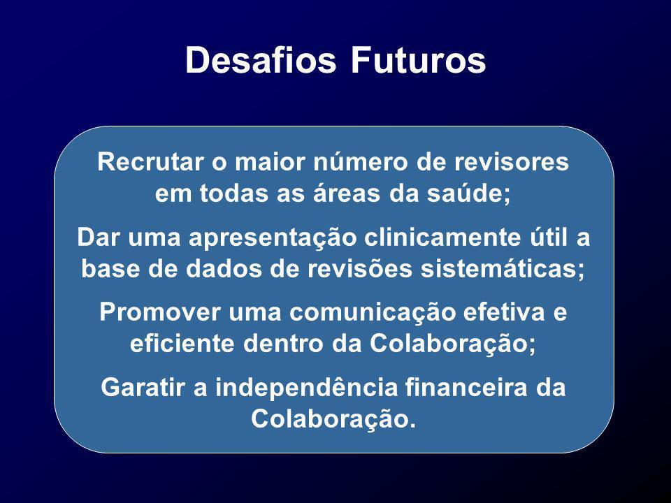Desafios Futuros Recrutar o maior número de revisores em todas as áreas da saúde;