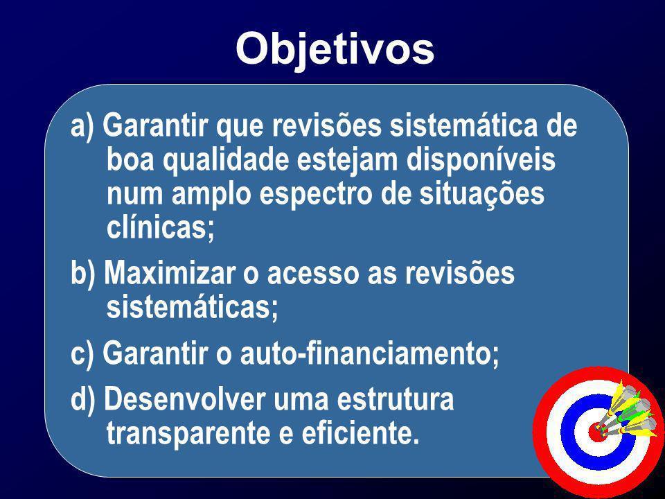 Objetivos a) Garantir que revisões sistemática de boa qualidade estejam disponíveis num amplo espectro de situações clínicas;