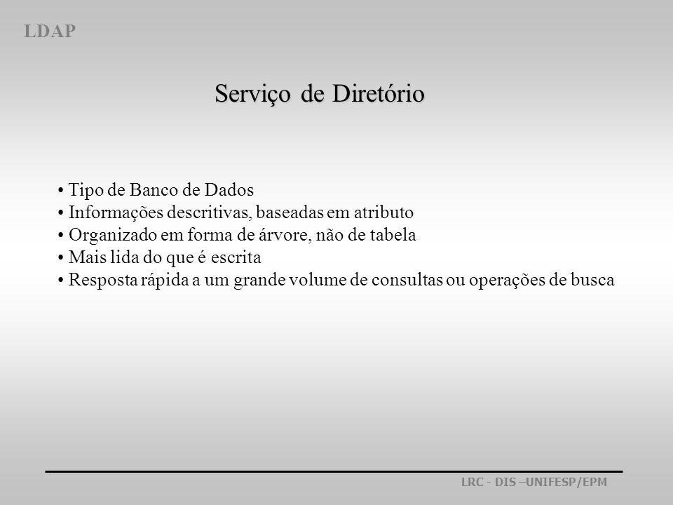 Serviço de Diretório LDAP Tipo de Banco de Dados