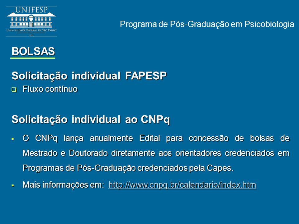 Solicitação individual FAPESP