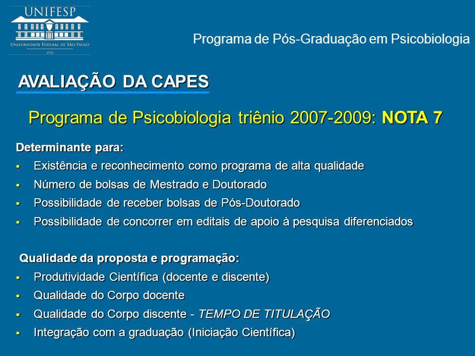 Programa de Psicobiologia triênio 2007-2009: NOTA 7