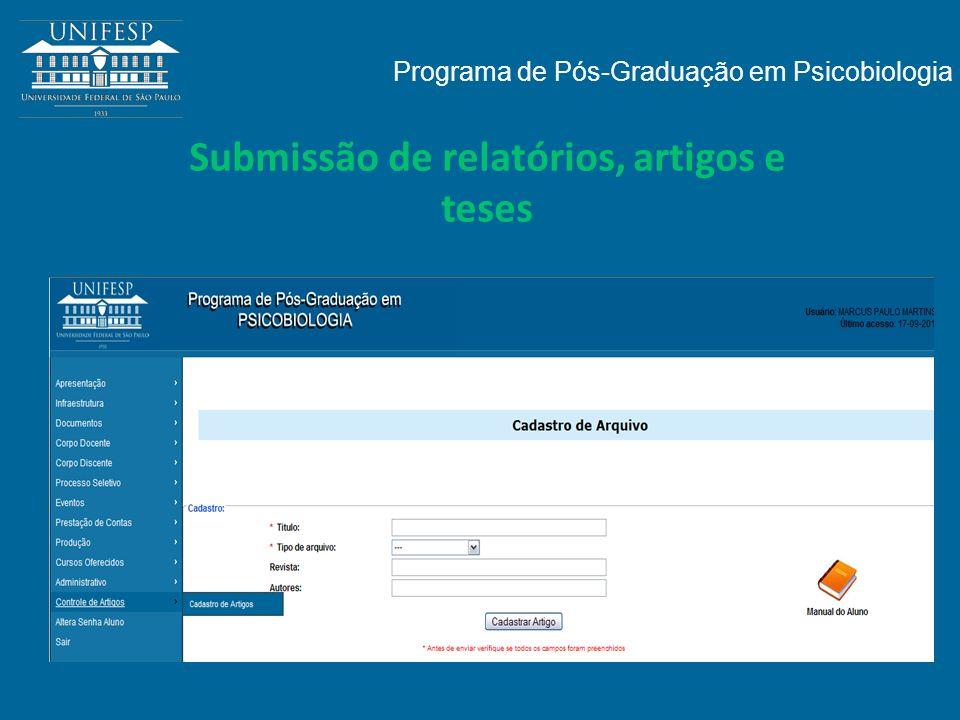Submissão de relatórios, artigos e teses