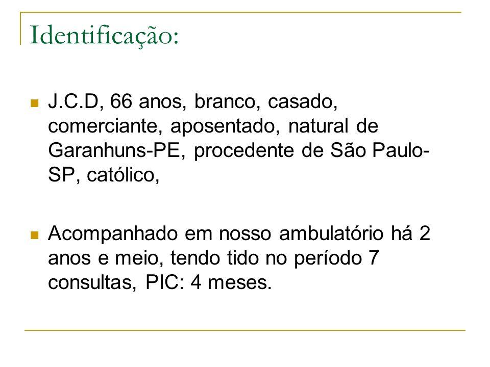 Identificação: J.C.D, 66 anos, branco, casado, comerciante, aposentado, natural de Garanhuns-PE, procedente de São Paulo-SP, católico,