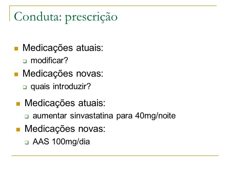 Conduta: prescrição Medicações atuais: Medicações novas: