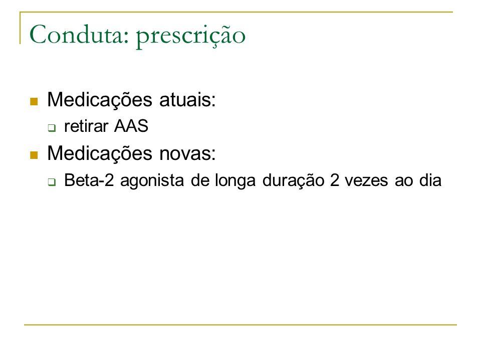 Conduta: prescrição Medicações atuais: Medicações novas: retirar AAS