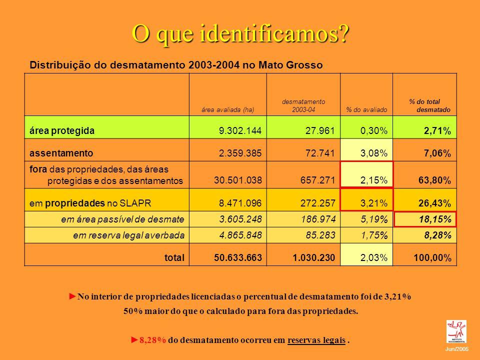 O que identificamos Distribuição do desmatamento 2003-2004 no Mato Grosso. área avaliada (ha) desmatamento.