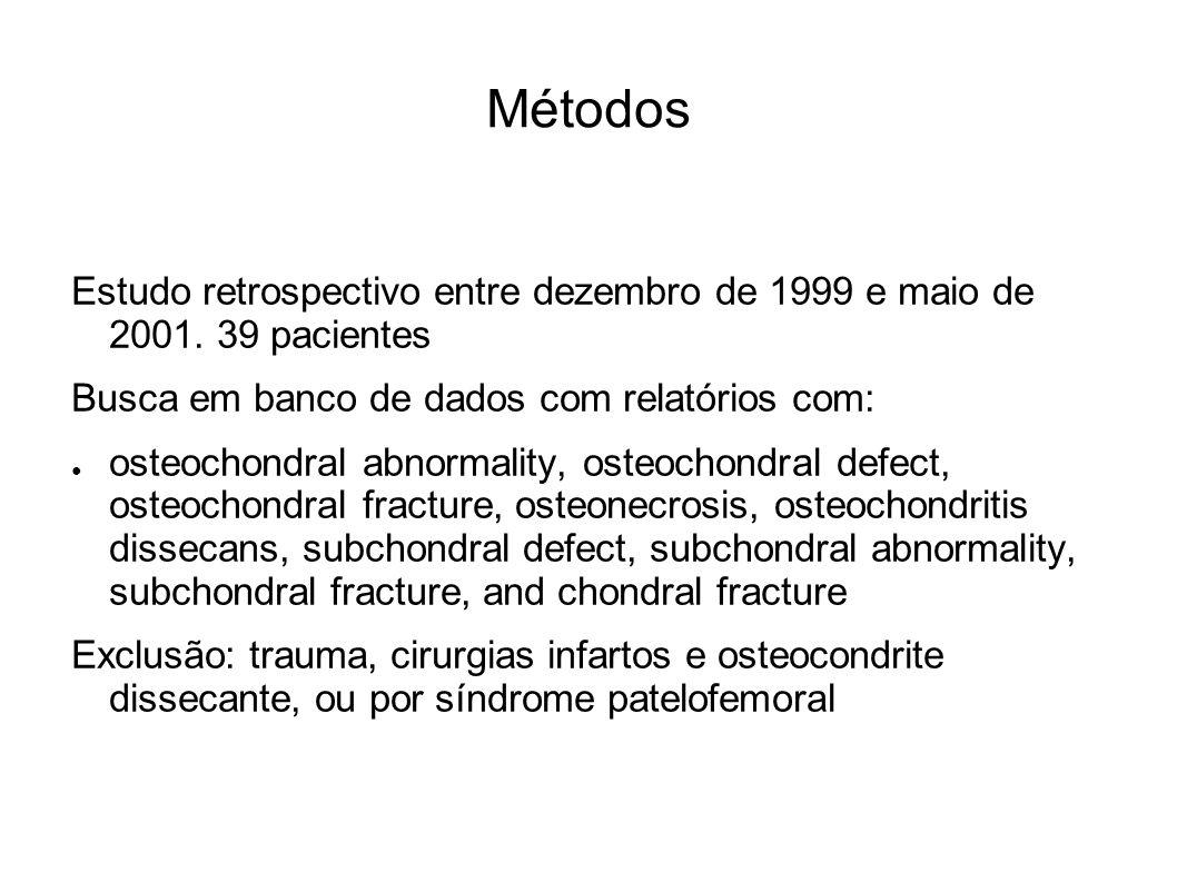 Métodos Estudo retrospectivo entre dezembro de 1999 e maio de 2001. 39 pacientes. Busca em banco de dados com relatórios com: