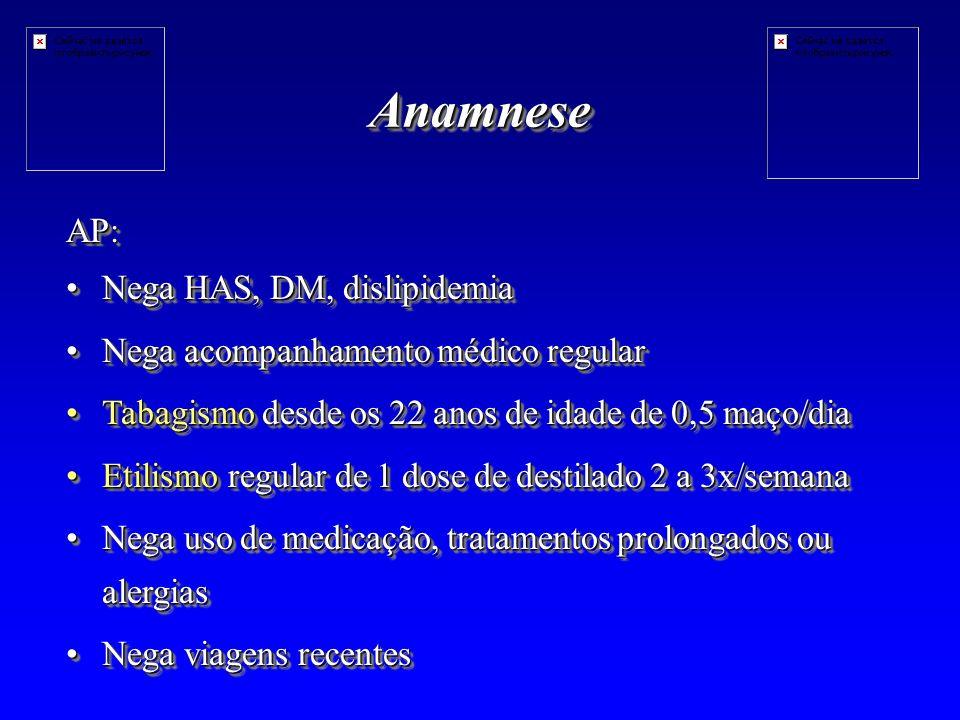 Anamnese AP: Nega HAS, DM, dislipidemia
