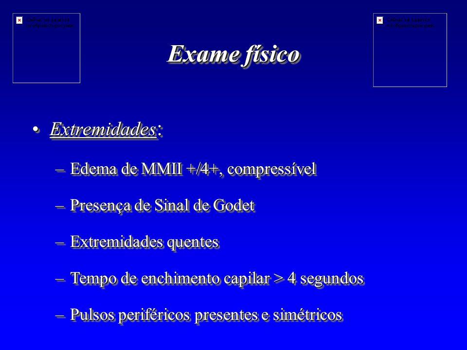 Exame físico Extremidades: Edema de MMII +/4+, compressível