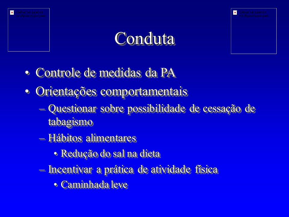 Conduta Controle de medidas da PA Orientações comportamentais